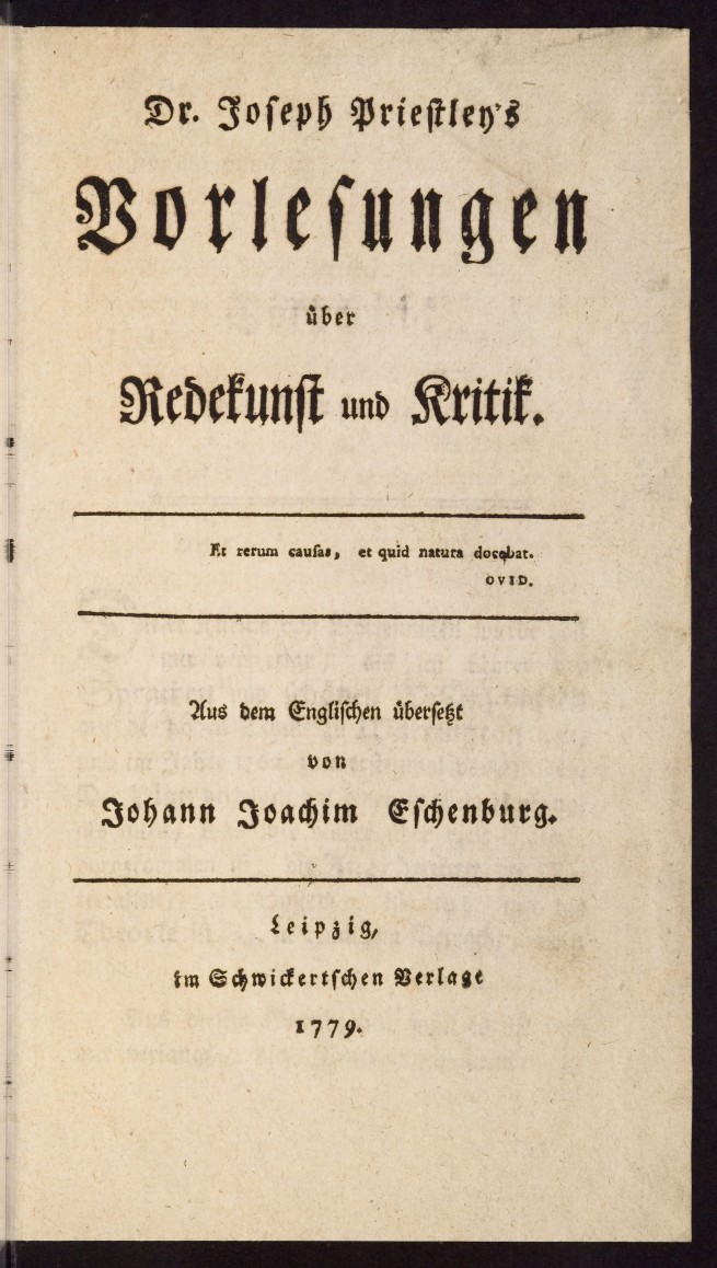 titlepage German translation Priestley's Lectures on Oratory and Criticism